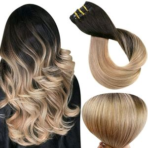 Full Shine Ombre Remy Clip in Hair Extensions